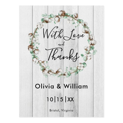 Rustic Wood with Cotton Wreath Thank You Card