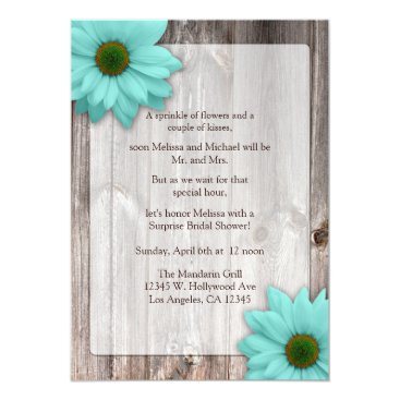 Rustic Wood with Teal Blue Daisies Bridal Shower Invitation