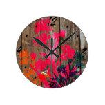 Rustic wooden flower design round wallclocks