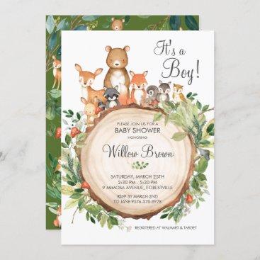 Rustic Woodland Animals Baby Shower Boy Invitation
