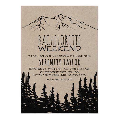 Rustic Woodsy Mountain Bachelorette Weekend Invitation