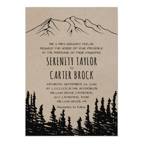 Rustic Woodsy Mountain Formal Wedding Invitation
