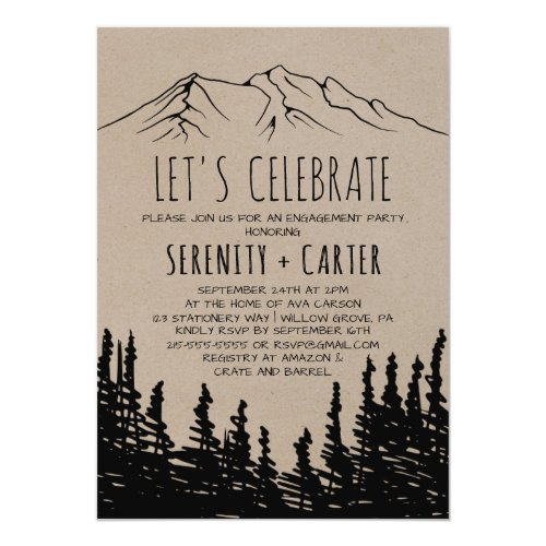 Rustic Woodsy Mountain Let's Celebrate Invitation