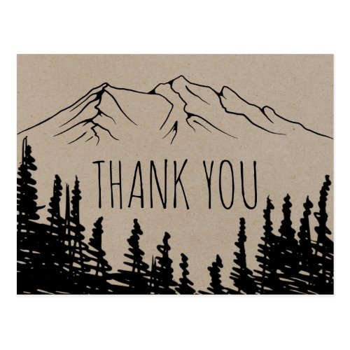 Rustic Woodsy Mountain Thank You Postcard