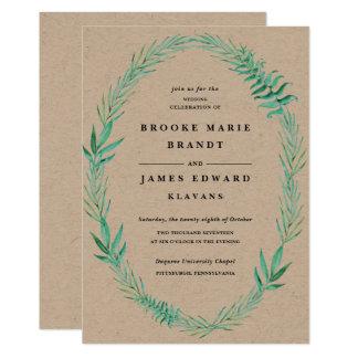 Rustic Wood Wedding Invitation Wreath Greenery