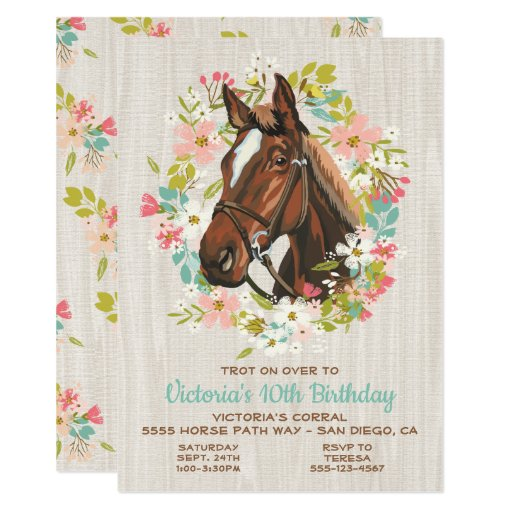 Rustic Wreath Horse Birthday Party Invitation