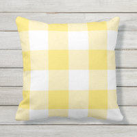 Rustic Yellow and White Buffalo Check Plaid Throw Pillow