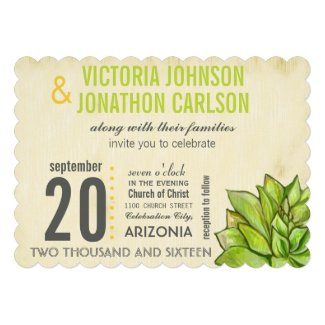 Rustic Yellow Lime Succulent Typography Wedding Personalized Invites