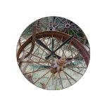 Rusty Wheels Round Wallclock