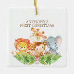 Safari Animals Baby's First Christmas Ornament