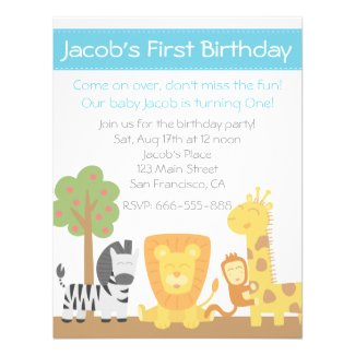 Safari Animals theme first birthday party Custom Announcements