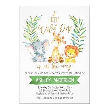 Safari Animals Watercolor Baby Shower Invitation