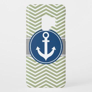 Sage Green Nautical Anchor Chevron Case-Mate Samsung Galaxy S9 Case