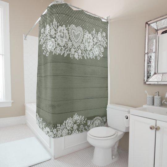 sage green rustic wood white lace lacy farmhouse shower curtain zazzle com
