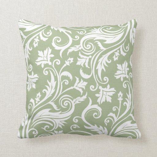 Sage Green Vintage Damask Pattern Throw Pillow  Zazzle