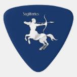 Sagittarius Silver Archer Zodiac Navy Blue Guitar Pick