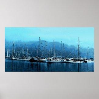 Sailboats on a Foggy Morning Print