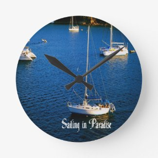 Sailing in Paradise Wallclocks