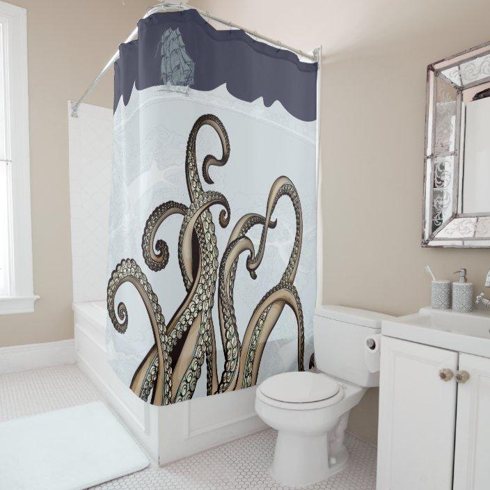 sailing ship and sea monster kraken shower curtain zazzle com