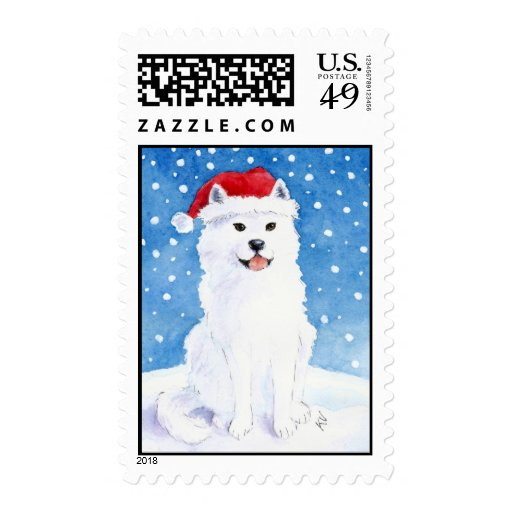 Samoyed In Santa Hat Postage Zazzle