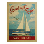 San Diego Sailboat Vintage Travel California Poster