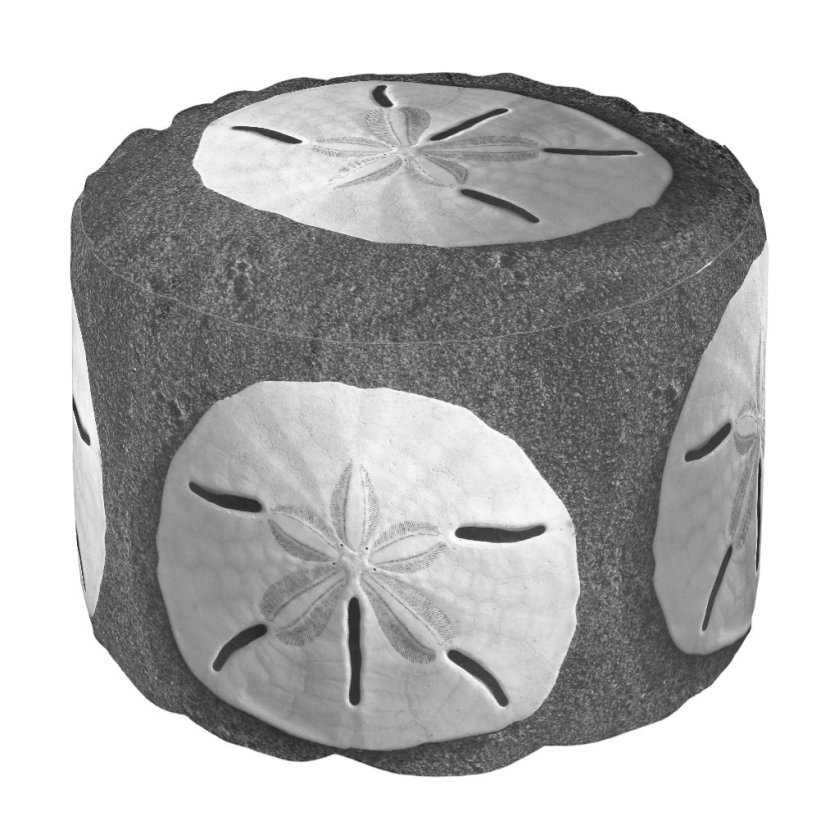 Sand Dollar B&W Sea Shell Custom Design Pouf