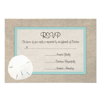 Sand Dollar Beach Wedding RSVP card Personalized Invitation