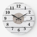 Sand Dollar Painting Shiplap Rustic Decor Large Clock