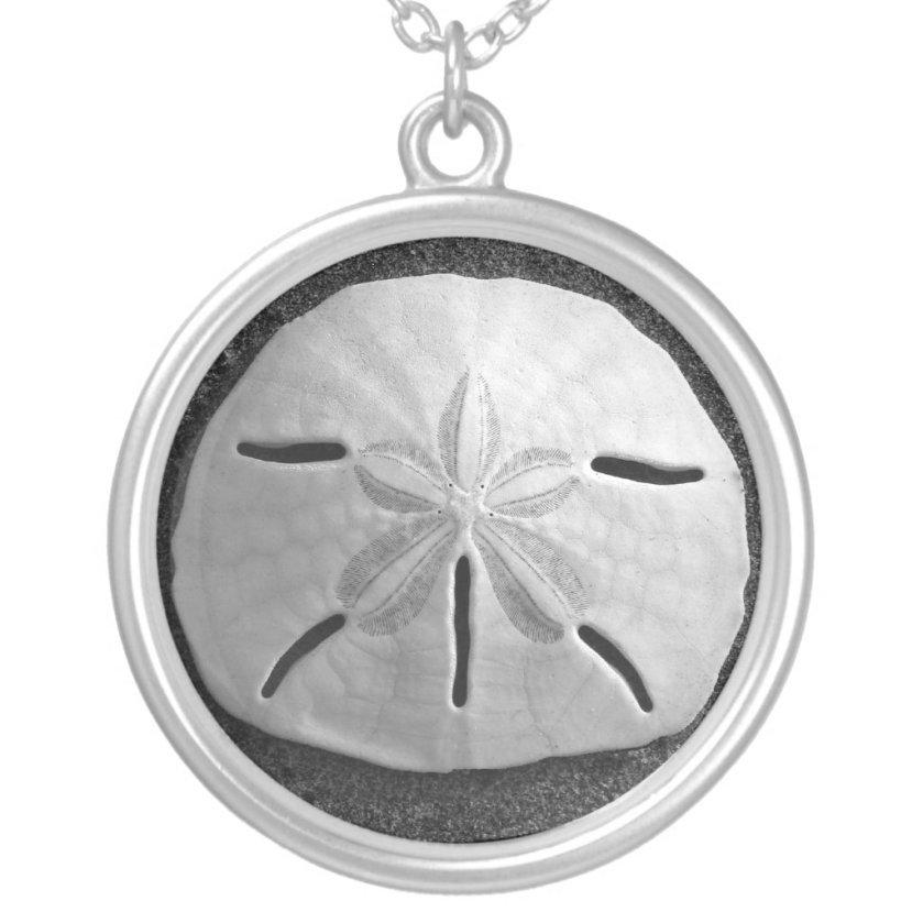Sand Dollar Seashell Beach Silver Necklace Pendant