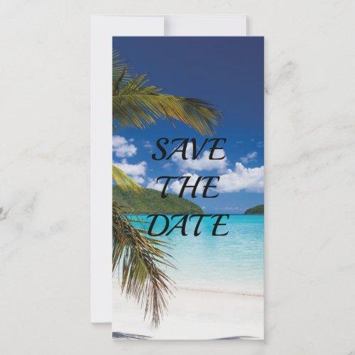 Sand Tropical Beach  Wedding Save The Date Thank You Card