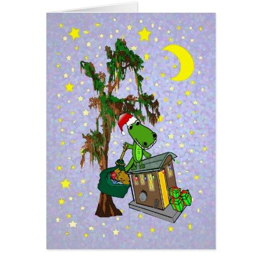 Santa Alligator Cajun Bayou Christmas Card Zazzle
