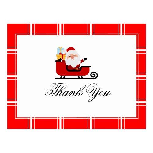 Santa Christmas Thank You Red Postcard
