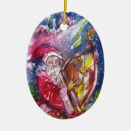 SANTA CLAUS PLAYING HARP IN THE MOONLIGHT Red Ruby Ornaments