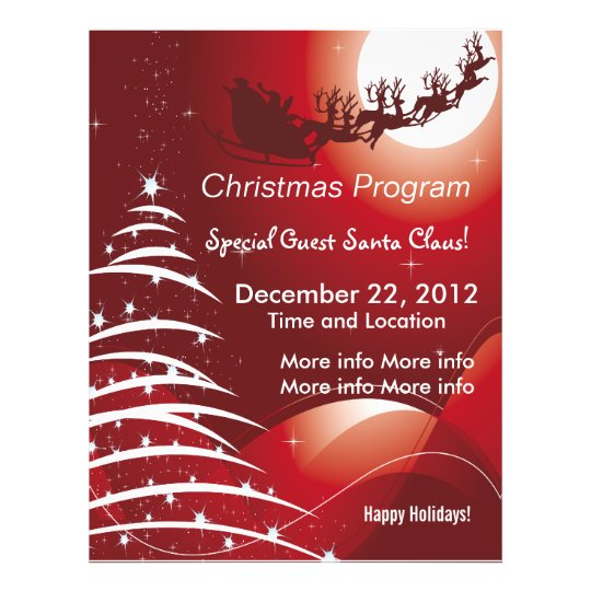 Santa Claus Red Christmas Program Flyer