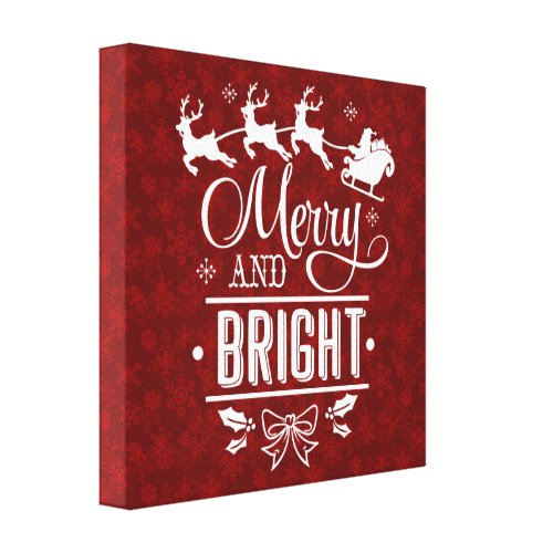 Santa Claus with sleigh Merry And Bright script Canvas Print