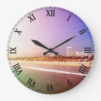 Santa Monica Beach - Green Purple Photo Edit Wall Clock