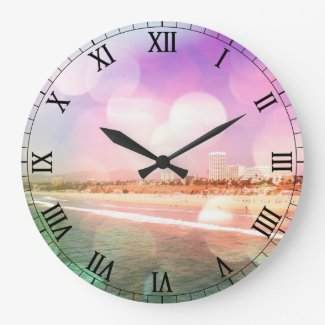 Santa Monica Beach - Sparkling Pink Photo Edit Clocks