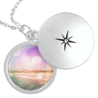 Santa Monica Beach - Sparkling Pink Photo Edit Jewelry