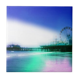 Santa Monica Pier - Blue Green Photo Edit Tile