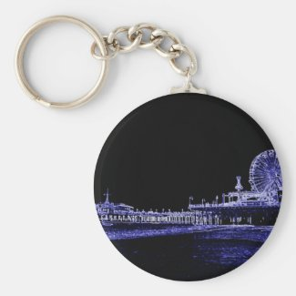 Santa Monica Pier Blue Neon Night Photo Edit Basic Round Button Keychain