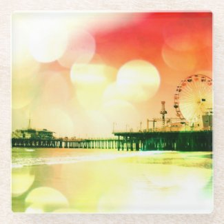 Santa Monica Pier Bursting Colors Glass Coaster