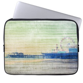 Santa Monica Pier green grey Canvas Computer Sleeves