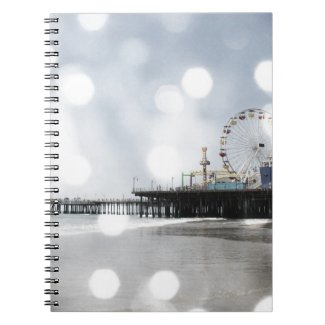Santa Monica Pier - Grey Sparkles Photo Edit Note Book