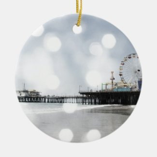 Santa Monica Pier - Grey Sparkles Photo Edit Christmas Ornaments