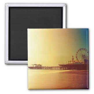 Santa Monica Pier - Orange Sunrise Photo Edit Refrigerator Magnet