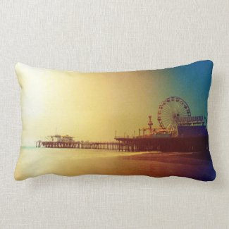 Santa Monica Pier - Orange Sunrise Photo Edit Throw Pillow