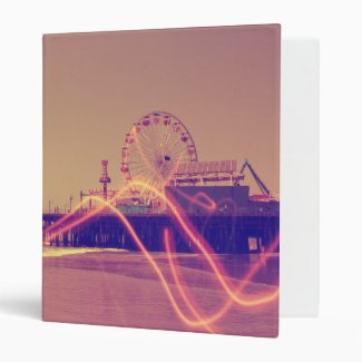 Santa Monica Pier Pink Lightning Edit 3 Ring Binders