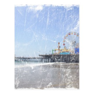 Santa Monica Pier - Shabby Chic Photo Edit Postcard