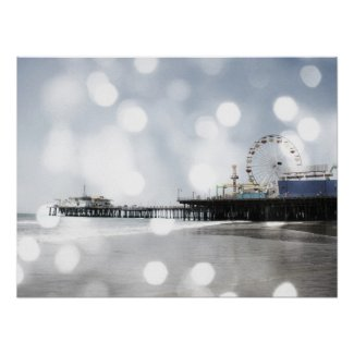 Santa Monica Pier - Silver Grey Sparkles Photo Edi Print