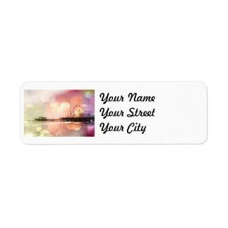 Santa Monica Pier - Sparkling Pink Photo Edit Custom Return Address Labels